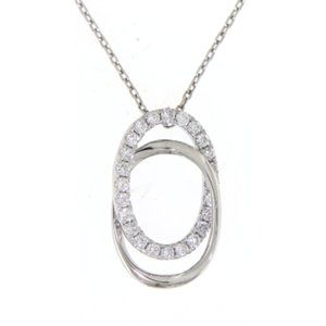 Solid Oval Diamond Pendant Fine Jewelry